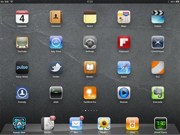 iPadin aloitusnäkymä